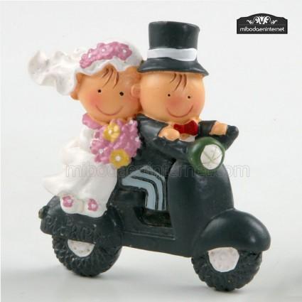 Imán de boda Pit & Pita en moto