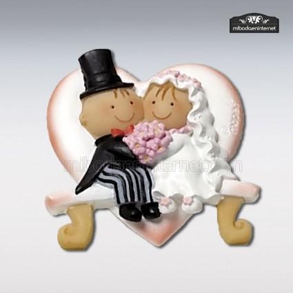Imán Banco Corazón pareja novios Pit & Pita en cerámica