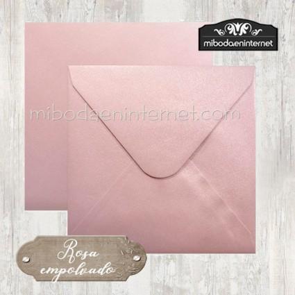Sobre cuadrado 16,5 rosa empolvado metalizado 125gr