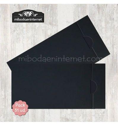 Pack 31 ud sobre americano negro apertura lateral