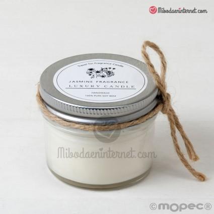 Vela aroma jazmín en tarro con cordón