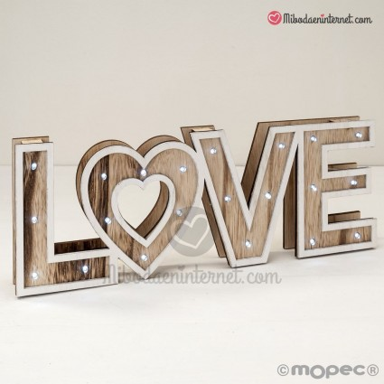 Letras madera LOVE con LED