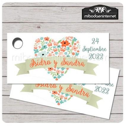 Etiqueta Detalle Boda Corazón floral