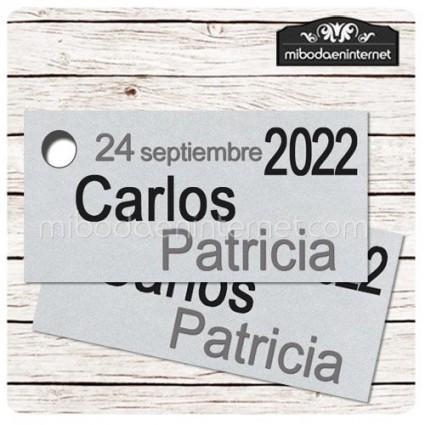 Etiqueta Detalle Boda Plata T783H