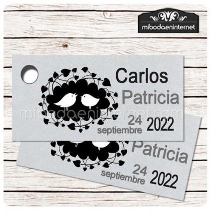 Etiqueta Detalle Boda Plata T784H