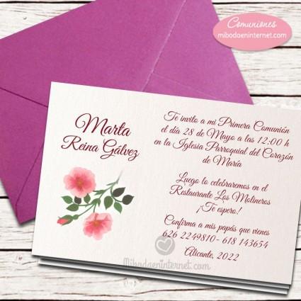 Invitación Primera Comunión con sobre púrpura