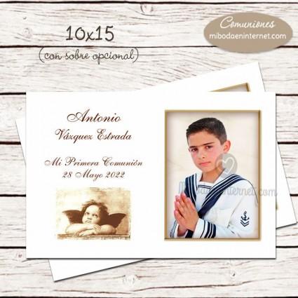 Tarjeta comunión con fotografía 10x15cm
