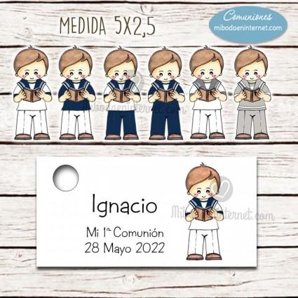 Etiqueta detalle Primera Comunión Nacho horizontal