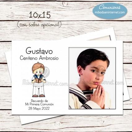 Tarjetón Montaje Fotográfico niño comunion marinero 10x15cm