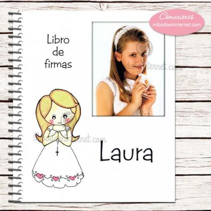 Libro de Firmas Primera Comunión con foto modelo Lucia
