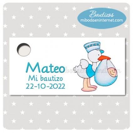 BA174T Etiqueta Detalle Bautizo Cigueña bebe niño celeste
