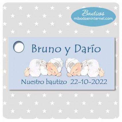 Etiqueta Detalle Bautizo Gemelos/Mellizos