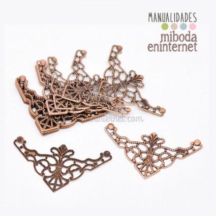 4 ud Esquinas decorativas en filigrana metal cobre