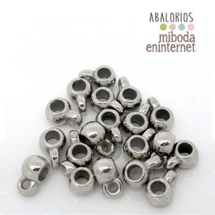 Adaptador metal a europeo acrílico plata 9x6mm