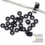 10 Stoppers de silicona para pandora o adaptador negro