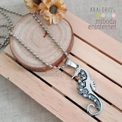 Collar Caballito de Mar plateado con cadena de 56 cms