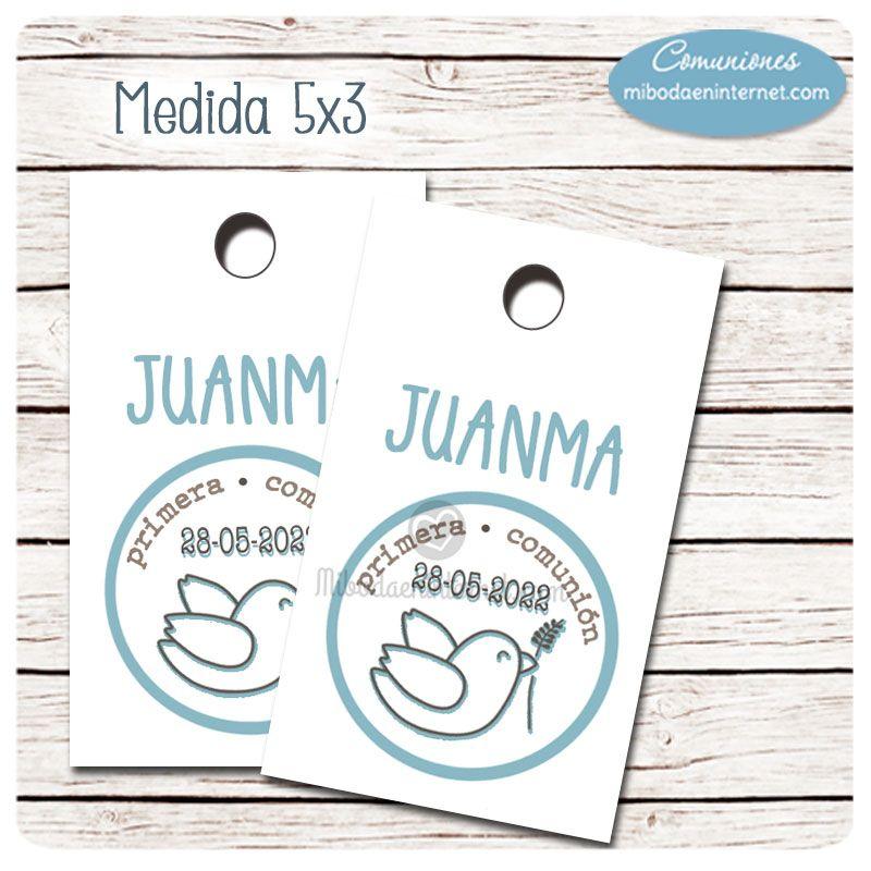 Etiqueta detalle Primera Comuni�n ni�o Paloma