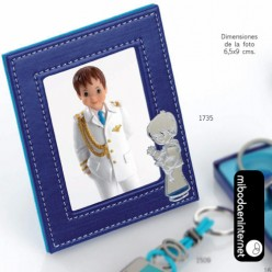 Marco Portafotos Piel Azul Niño Comunión