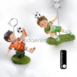 Tema Futbol:Sujeta Tarjetas Comunión Niño Futbolista Surtido