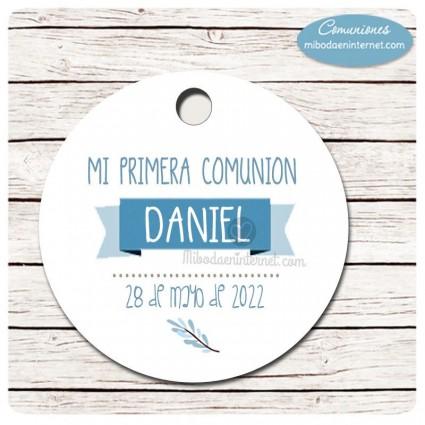 Etiqueta redonda Comunión Banderola
