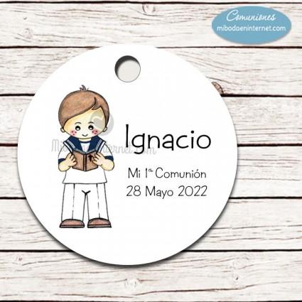 Etiqueta redonda Comunión niño Nacho