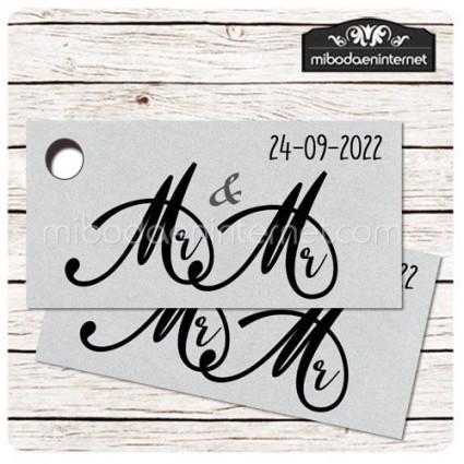 Etiqueta Detalle Boda Plata Mr y Mr