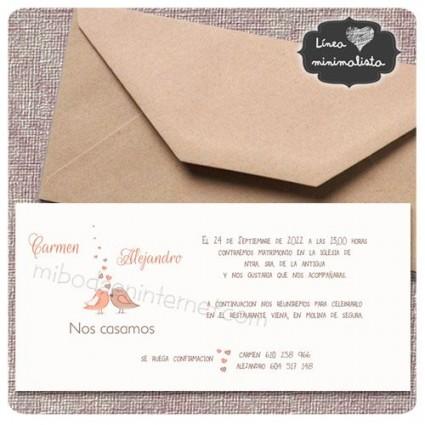 Invitación boda Affinity rectangular con sobre kraft