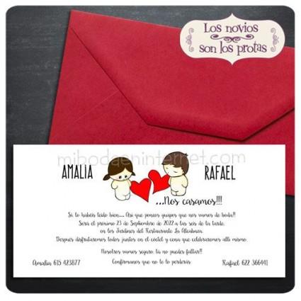 Invitación Boda Aires de Amor con sobre carmin