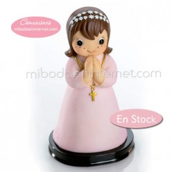Figura Pastel Niña Comunión Túnica Rosa 15 cms