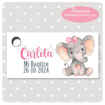 Etiqueta Bautizo Elefantita