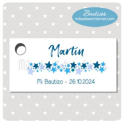 Etiqueta Bautizo Estrellitas azules