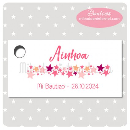Etiqueta Bautizo Estrellitas rosas