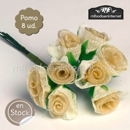 Flor Rosa Beige organza y arpillera pomo de 8