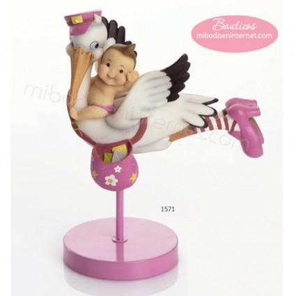 Figura Pastel Cigüeña Bebé volando Rosa