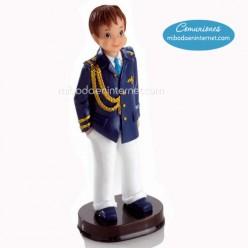 Figura Pastel Niño Comunión Almirante Chaqueta Azul 15 cms