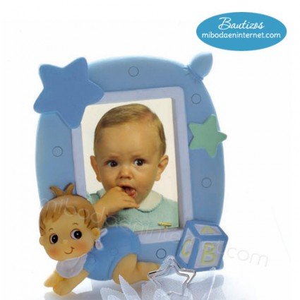 Portafotos Bebé Estrellas Celeste 11x10 cms
