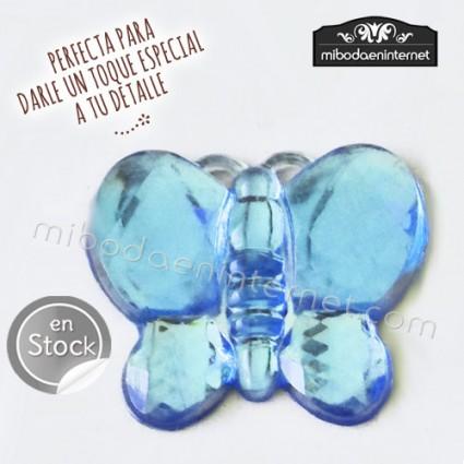 Adhesivo Mariposa efecto cristal Celeste