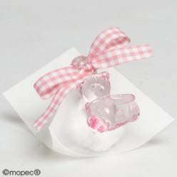 Caja 5 peladillas choco osita rosa cinta vichy