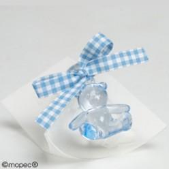 Caja 5 peladillas choco osito azul cinta vichy
