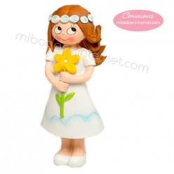 Figura pastel Niña Comunión Flor 15 cm