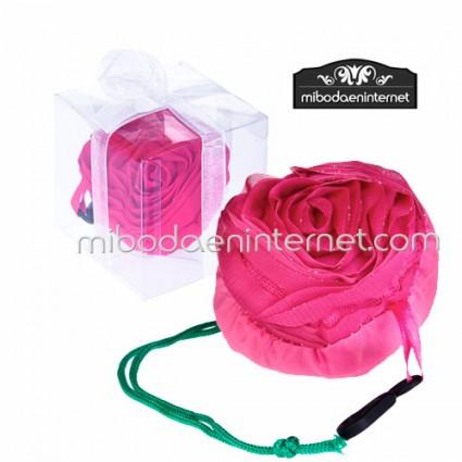 Bolsa plegable Flor Rosa con cajita y lazo