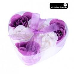 Caja corazón 6 Rosas de jabón en estuche con lazo
