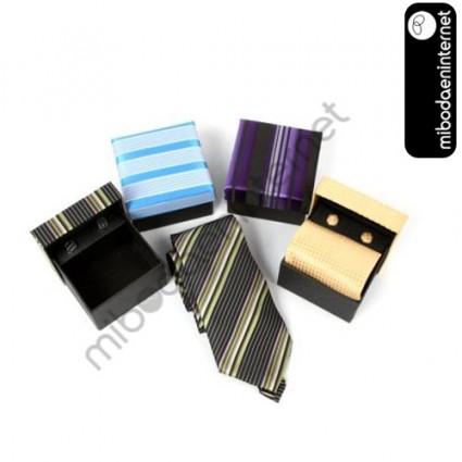 Set Corbata normal + Gemelos en estuche regalo a conjunto