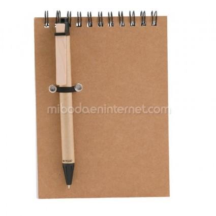 Libreta con Bolígrafo Reciclado