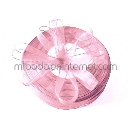 Cinta Organza Rosa bebé 15mm - Metro