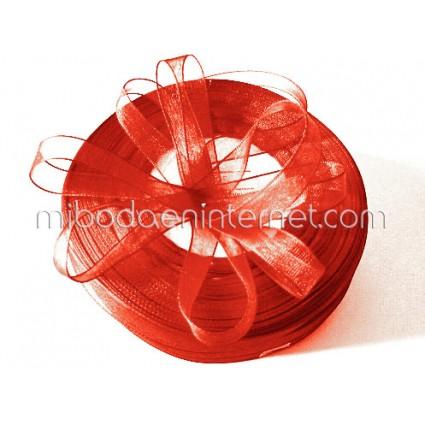 Cinta Organza Rojo 15mm - Metro