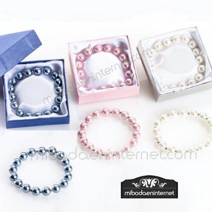 Pulsera Perlas tres Colores con caja a juego