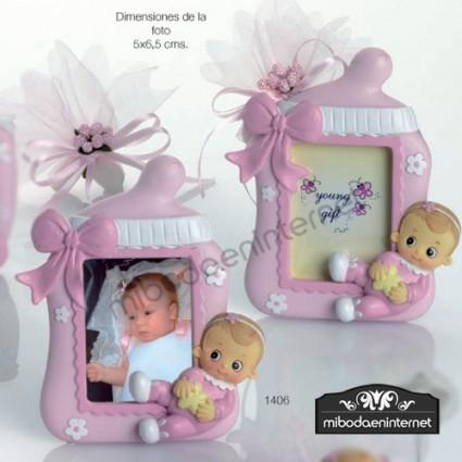 Portafotos Bebé Biberón Niña Rosa Diadema