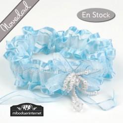 Liga Novia Puntilla Azul Celeste perlas