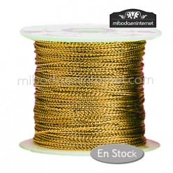 Cordón Color Metalizado Dorado 1 mm - Rollo 100 mts